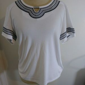 Karen Scott Bright White Embellished Top Large New